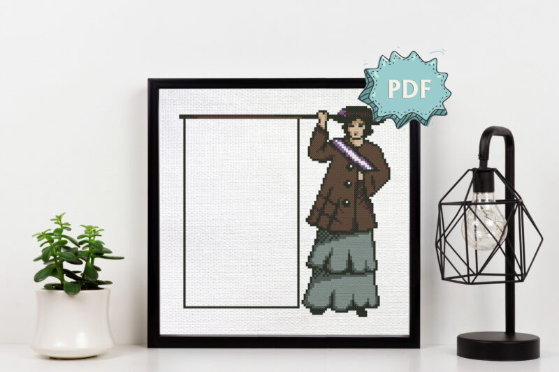 A suffragette holding an empty banner - a cross stitch pattern by QuaternionCreations