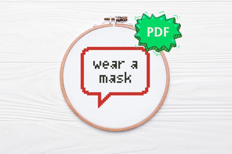 Wear a mask free cross stitch pattern
