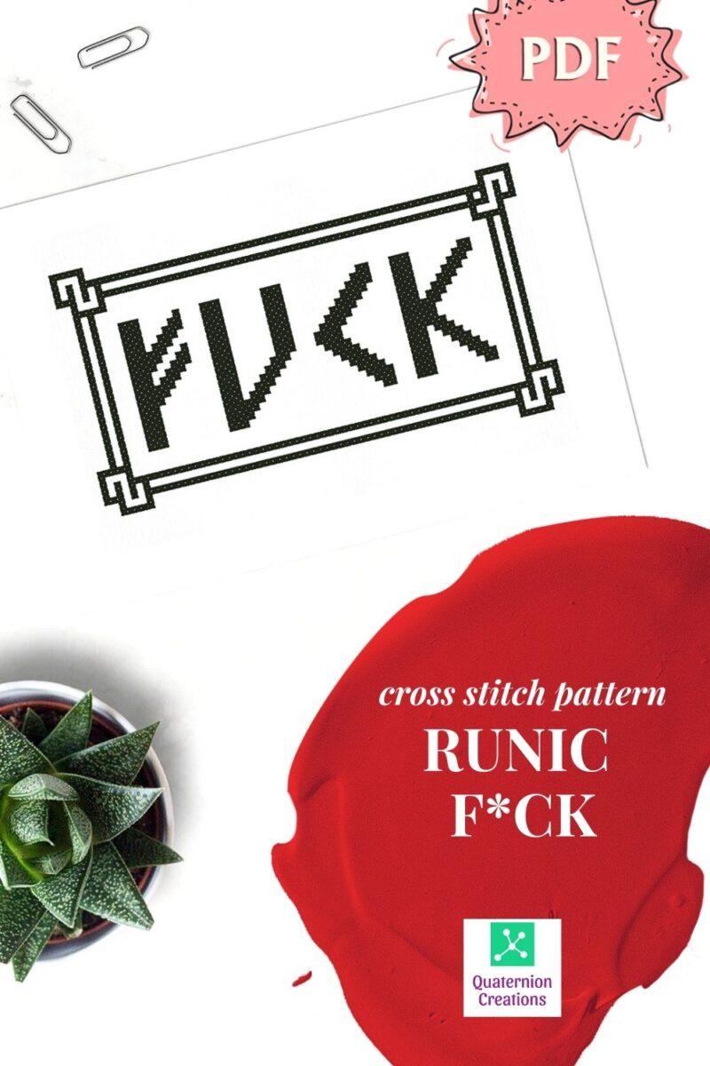 Naughty cross stitch pattern - F*ck in runic font - subversive statement embroidery design