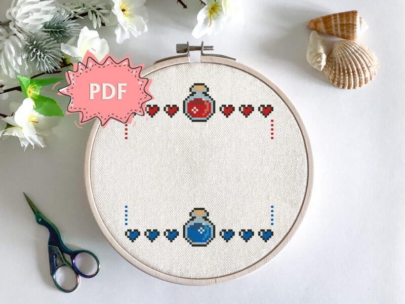 Gaming cross stitch border - geeky embroidery wreath for your quote
