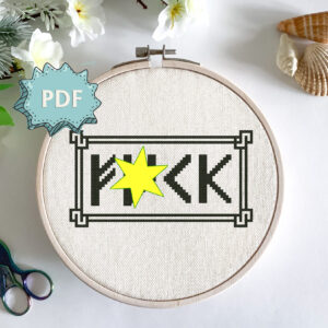 Naughty cross stitch pattern - F*ck in runic font - subversive statement embroidery design