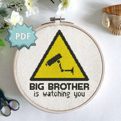 Modern cross stitch pattern - Big Brother is watching you - statement embroidery design - Instant download