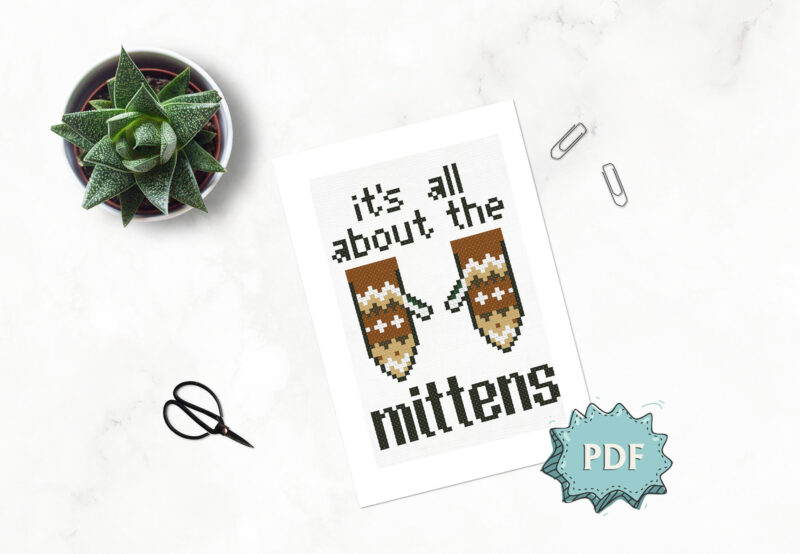 Bernie Sanders Mittens - inauguration inspired easy cross stitch design