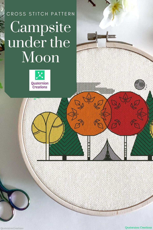Modern cross stitch pattern - campsite under the moon - minimalist embroidery design