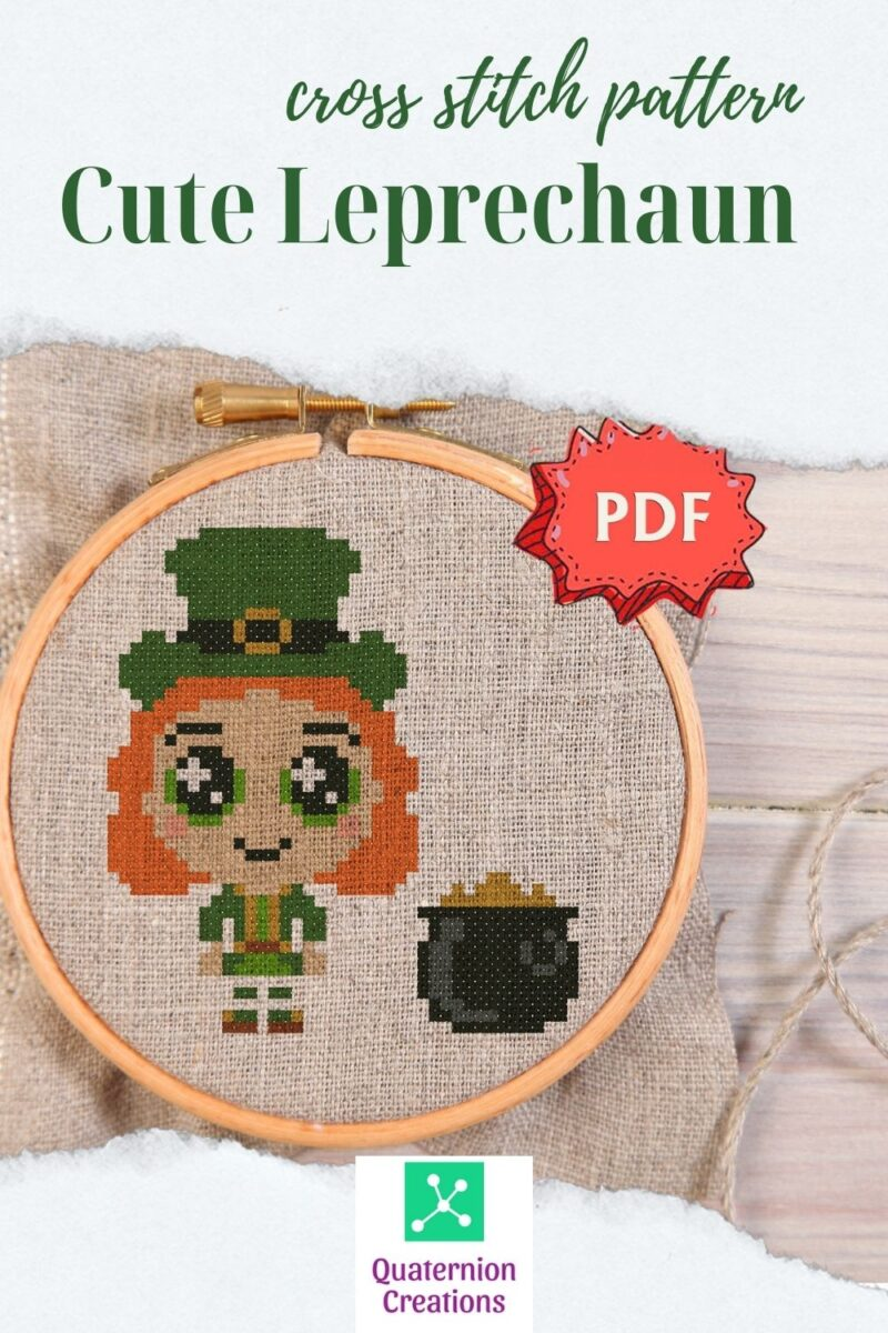 Leprechaun cross stitch pattern - cute little leprechaun embroidery - modern easy stitching design