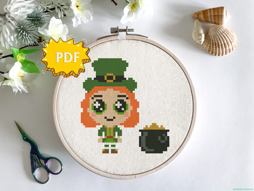 Leprechaun cross stitch pattern - cute little leprechaun embroidery - modern easy stitching design