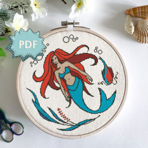 Mermaid cross stitch pattern - beautiful red haired mythical creature embroidery - modern stitching design