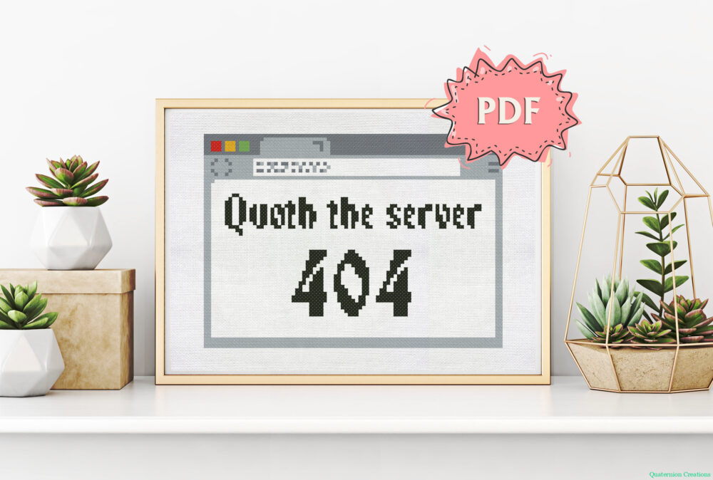 Quoth the server 404 - cross stitch pattern with a text within an Internet browser - web programmers cross stitching