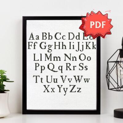Simple serif cross stitch alphabet