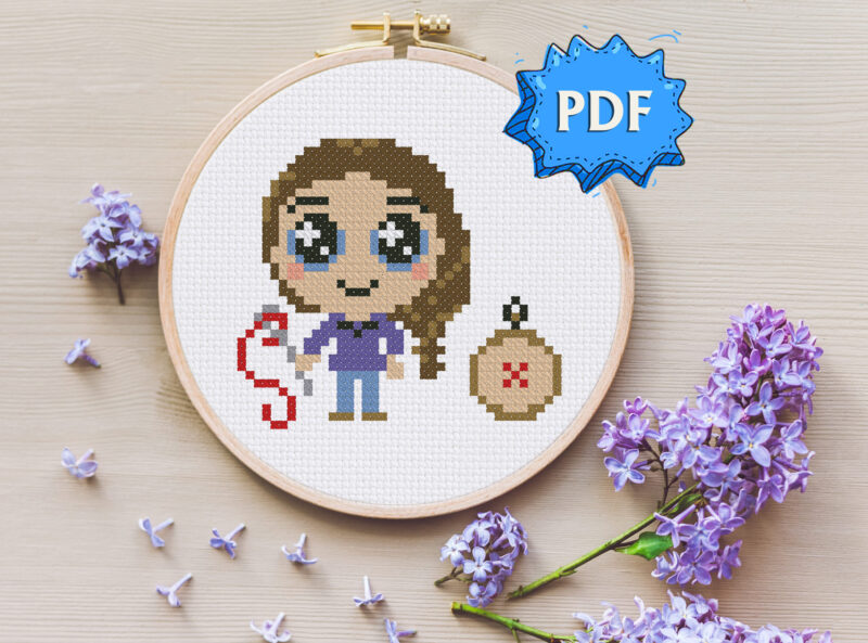 The stitcher cross stitch pattern - cute little stitcher with needle and hoop embroidery - modern stitching design