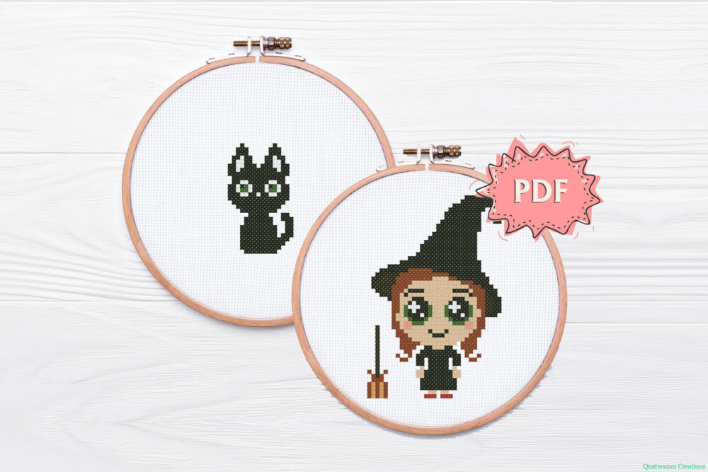 Witch cross stitch pattern - cute little witch and black cat embroidery - modern Halloween stitching design