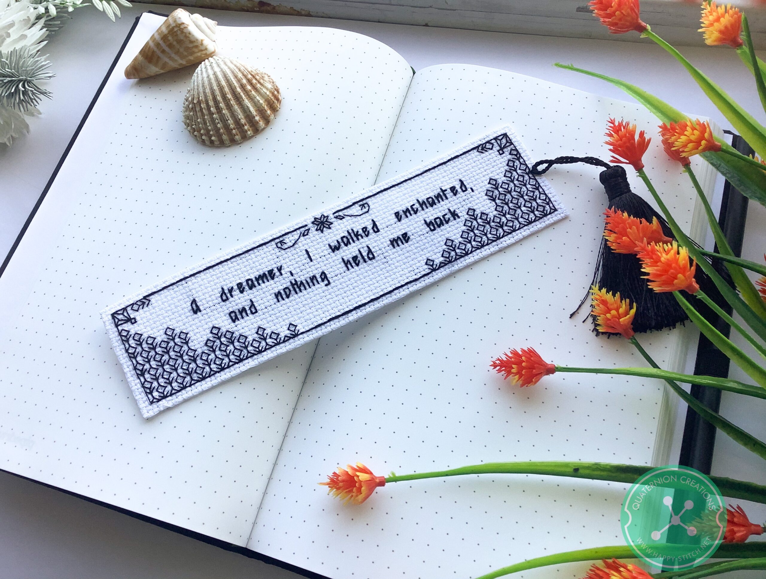 Blackwork bookmarks embroidery pattern
