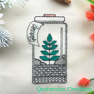 Garden in a jar blackwork embroidery pattern - bottle garden - easy modern cross stitch design