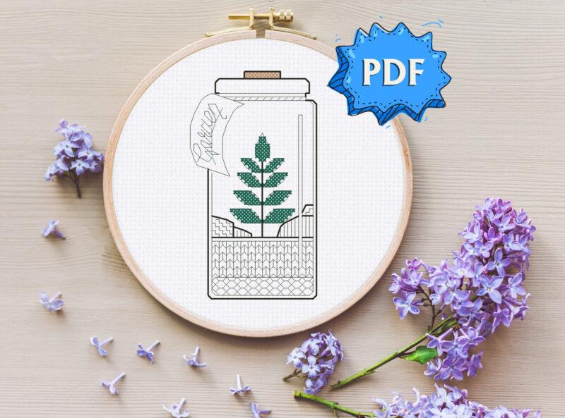 Garden in a jar blackwork embroidery pattern - bottle garden - easy modern cross stitch design