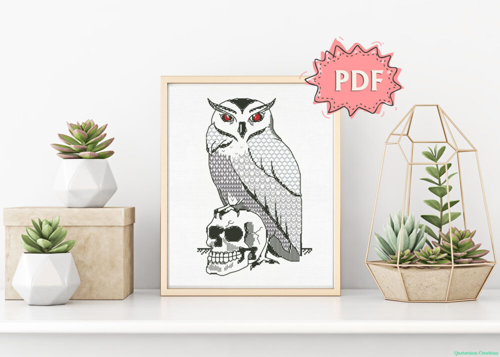 Owl and Skull blackwork pattern - modern witchy embroidery - unique dark stitching design