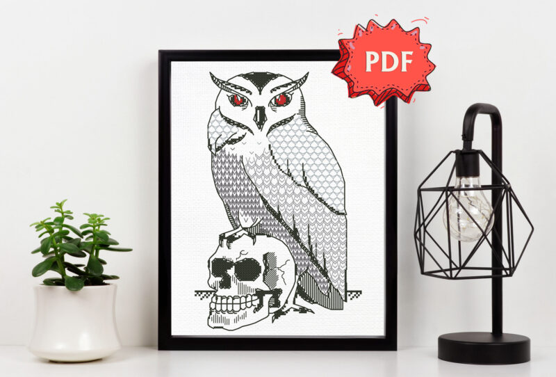 Owl and Scull blackwork pattern - modern witchy embroidery - unique dark stitching design