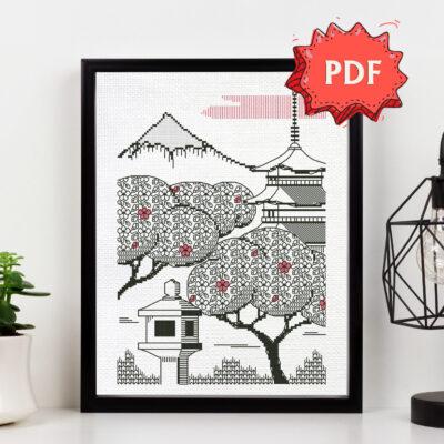 Sakura Morning blackwork pattern - modern Japan inspired embroidery - unique cross stitching design