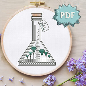 Sea in a Jar blackwork embroidery pattern - easy modern cross stitch design