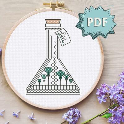 Sea in a Jar blackwork embroidery pattern - easy modern cross stitch design