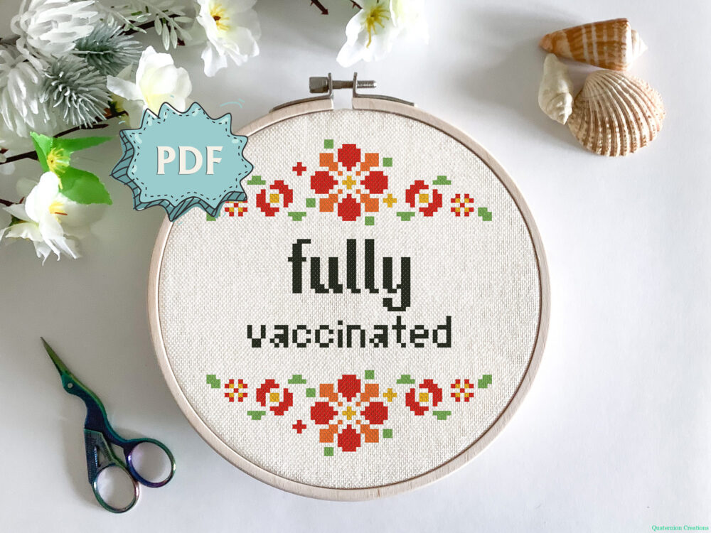 Fully Vaccinated free cross stitch pattern