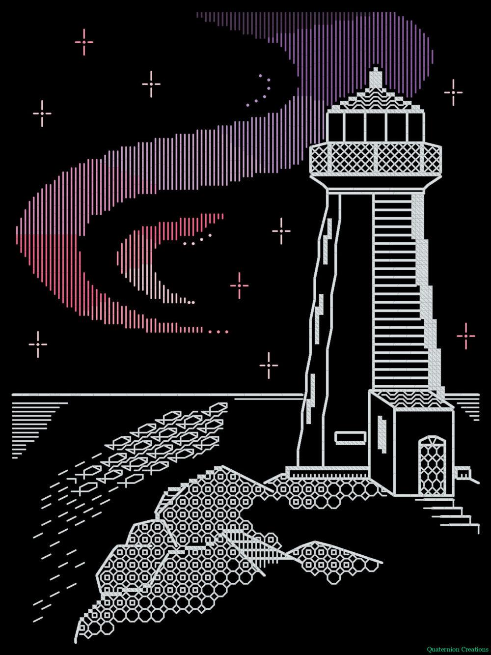 Lighthouse Aurora blackwork pattern - beautiful modern Northern Lights embroidery - unique stitching design