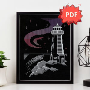 Lighthouse Aurora blackwork pattern - beautiful modern Northern Lights embroidery - unique stitching design