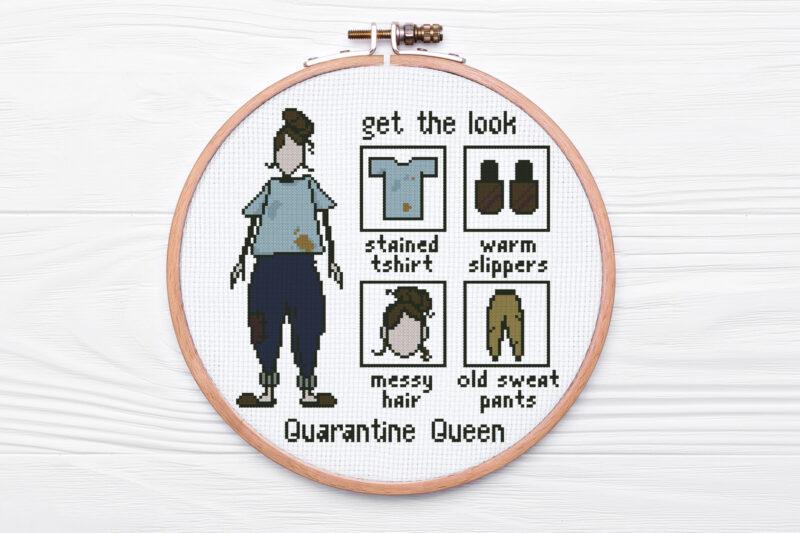 Quarantine Queen modern cross stitch pattern