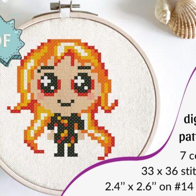 Cute fire elemental cross stitch pattern