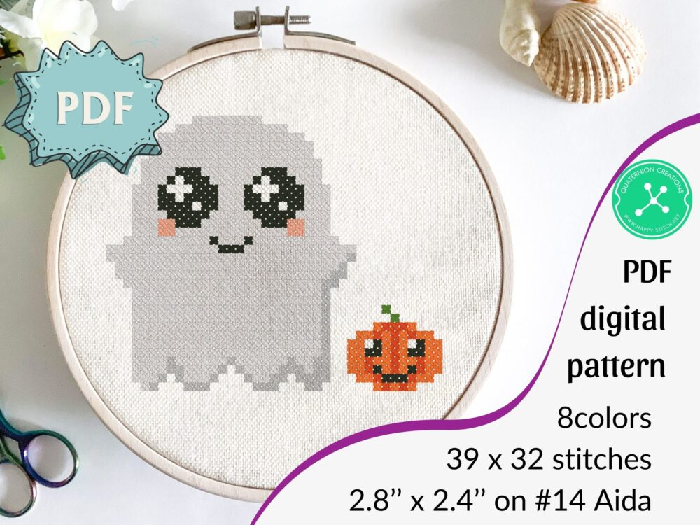 Cute Ghost cross stitch pattern in chibi style - cute characters Halloween stitching - haunted emberoidery