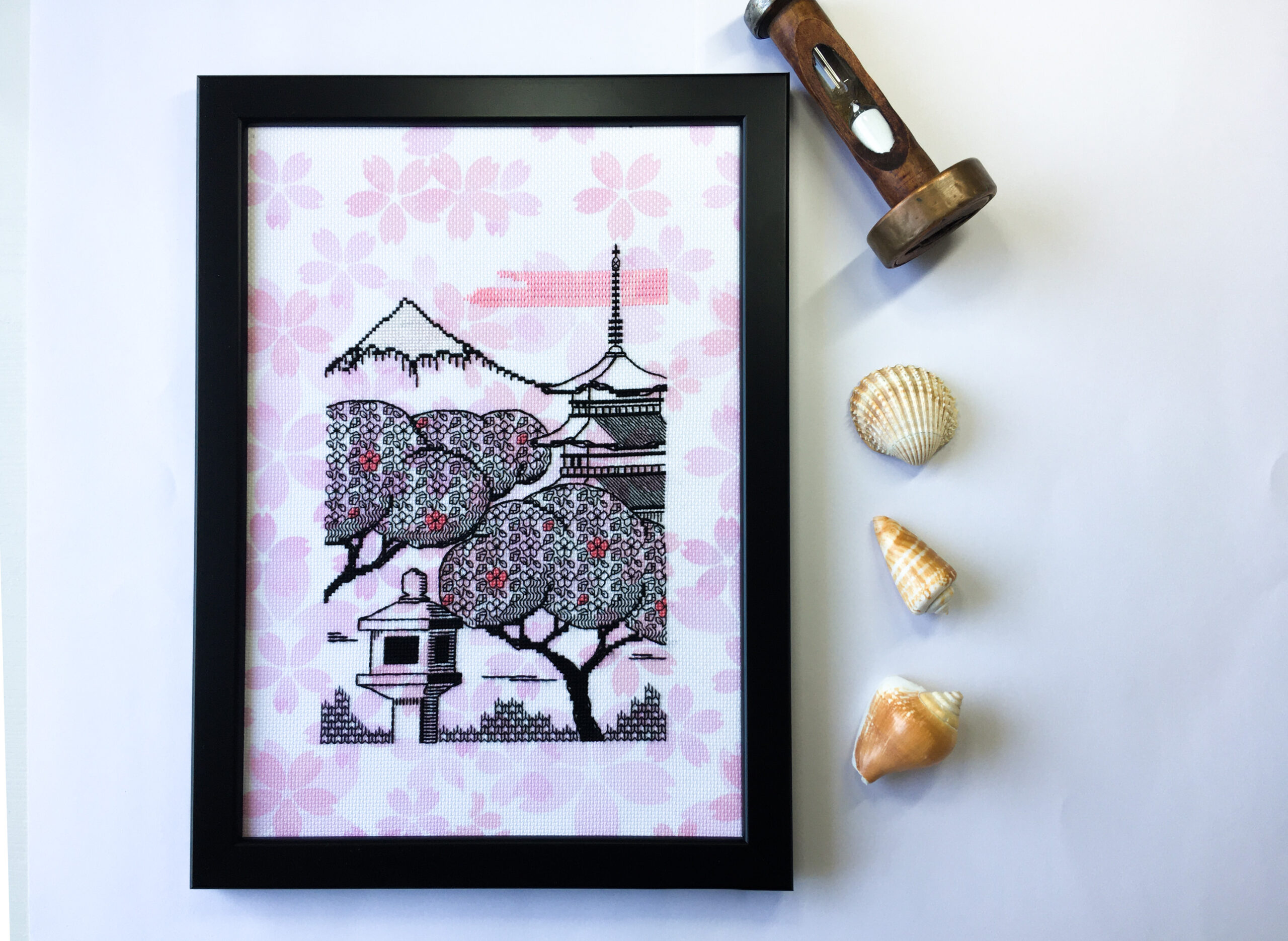 Sakura Morning blackwork embroidery kit