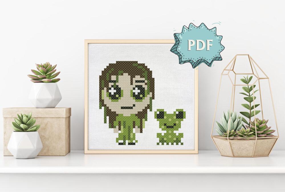 Bog creature cross stitch pattern in chibi style - cute characters Halloween stitching