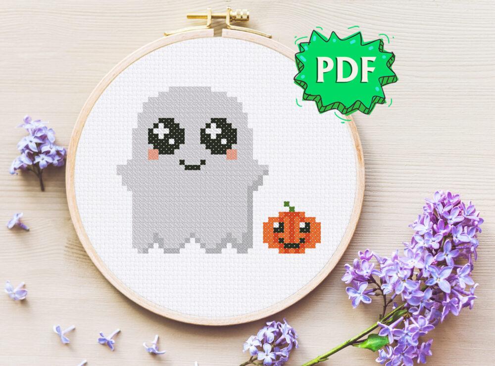 Cute Ghost cross stitch pattern