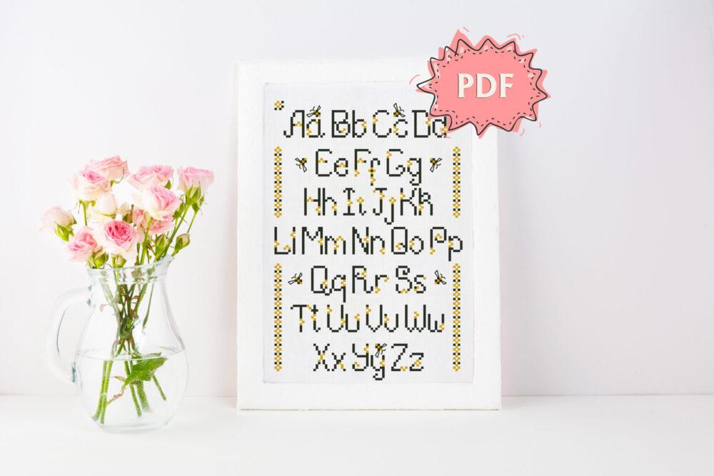 Busy Bee alphabet cross stitch pattern
