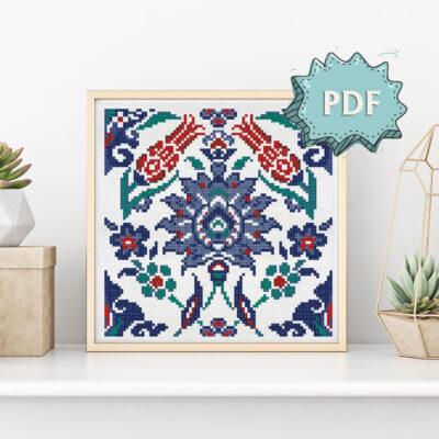 Eastern ornament cross stitch pattern