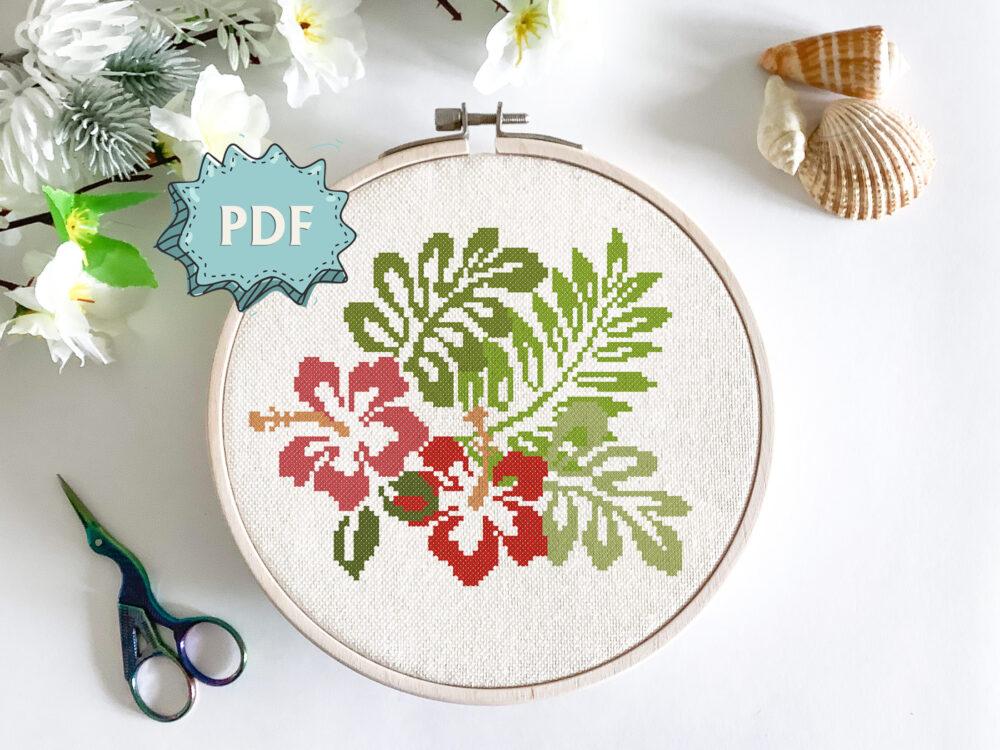 Hibiscus flowers cross stitch pattern