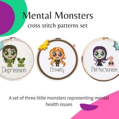 Mental Monsters cross stitch patterns - set of three - modern mental health cross stitch designs