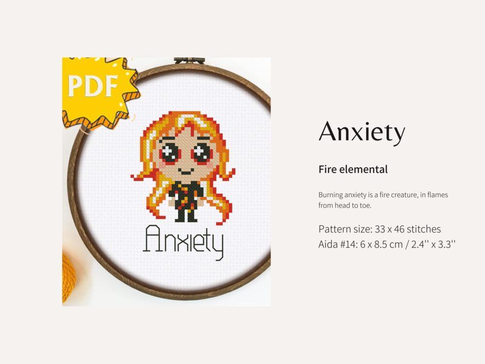 Anxiety monster cross stitch pattern