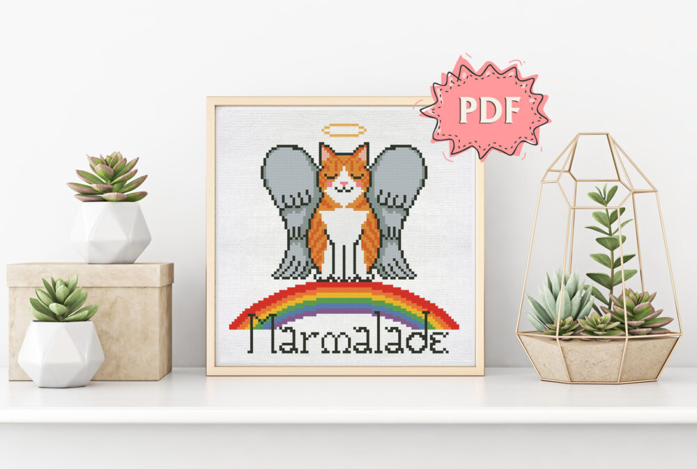 Rainbow Cat cross stitch pattern