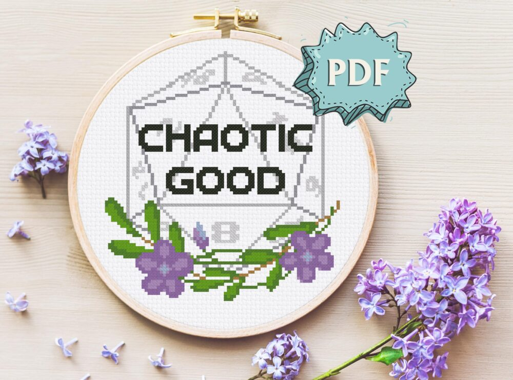 Floral Chaotic Good - Morality alignment cross stitch pattern