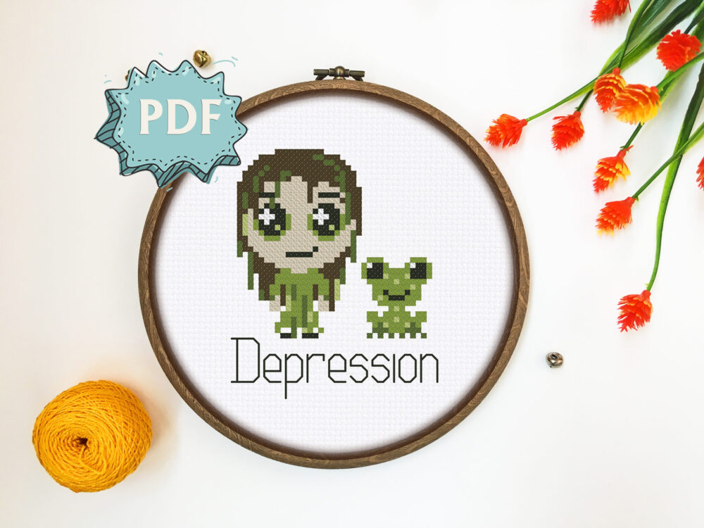 Depression monster cross stitch pattern