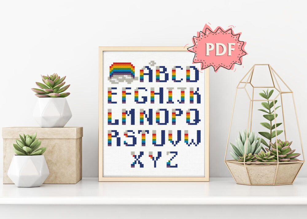 Easy Rainbow Alphabet cross stitch pattern