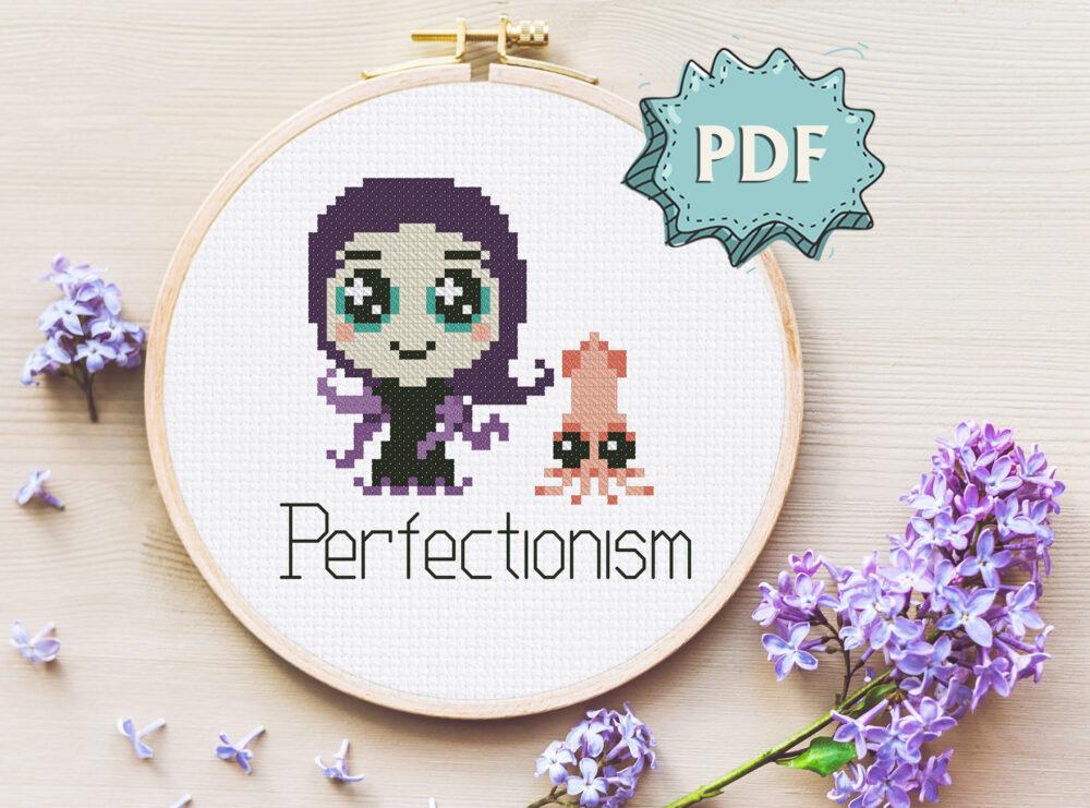 Perfectionism monster cross stitch pattern