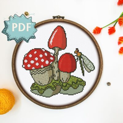 Mushrooms and Dragonfly cross stitch pattern - goblincore aesthetic stitching design - modern embroidery chart