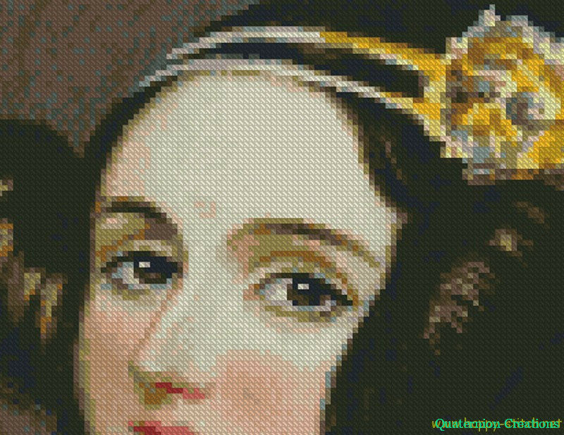 Ada Lovelace cross stitch pattern close up