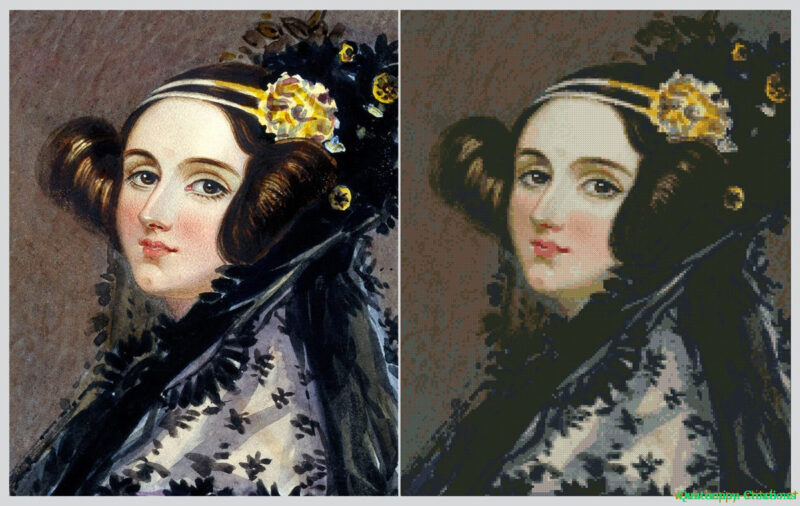 Ada Lovelace cross stitch pattern comparison