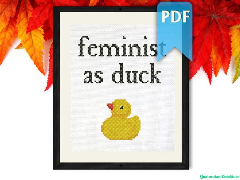 Feminist as duck cross stitch pattern